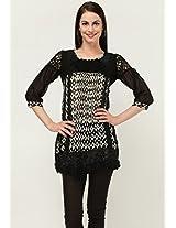 3/4Th Sleeve Printed Black Tunic