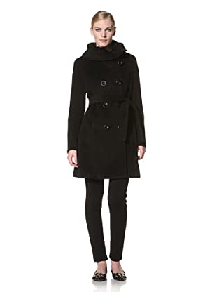 Ellen Tracy Women's Double-Breasted Belted Coat (Black)