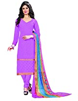 Khushali Presents Embroidered Georgette Dress Material(Purple)
