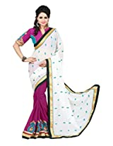 Zoom Beautiful White Georgette with Heavy Embroidered work Saree