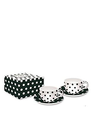 Easy Life Design Set 2 Tazzine Espresso con Piattini in Porcellana Happy Pois (Nero)