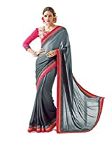 Inddus Women Grey Shaded Self Designed Partywear Saree
