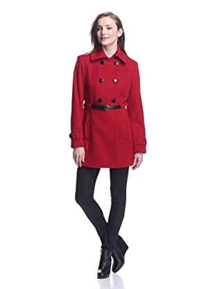 Sofia Cashmere Women's Double-Breasted Belted Coat (Red)