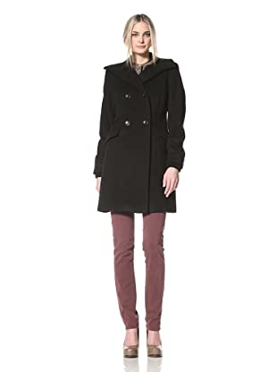 Nicole Miller Women's Knit Collar Coat with Faux Leather Trim (Black)