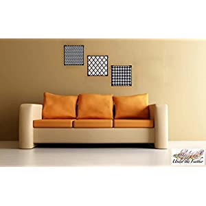 Under the Feather Patterned Wall Frame- Set of 3 in Black and White