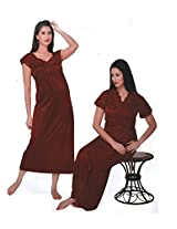 Indiatrendzs Womens Sexy Honeymoon Nighties Silk Satin 2pc set Nighty Maroon freesize