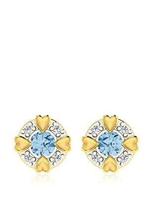 Diamant Vendome 0.03 Cts Diamond & 0.4 Cts Blue Topaz Earring In 9Kt Yellow Gold (Gh Color, Pk Clarity) T12339Y/9/Ns/Blue Topaz Yellow Gold