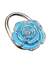 Flower Design Folding Handbag Holder Bag Hanger Purse Table Hook (blue)