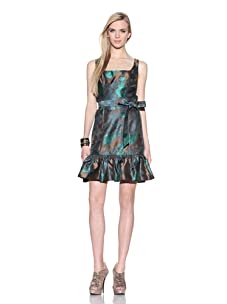 Muse Women's Floral Jacquard Dress with Ruffle Hem (Green/Multi)