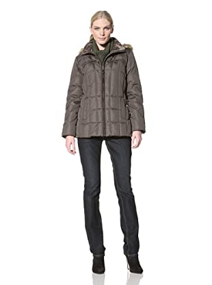 Larry Levine Women's Down Jacket with Hood (Loden)