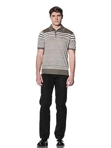 Cruciani Men's Striped Polo (Mud/Beige)