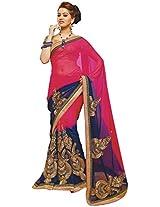 Anushree Sarees Women's Georgette And Chiffon Saree (Anushree A34190_1, Pink, Dark Blue)
