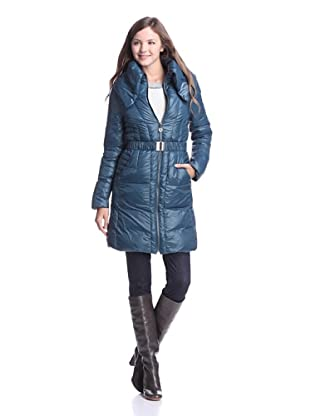 Elie Tahari Women's Enrica Long Puffer Coat with Belt (Stained Glass)