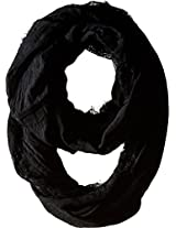 Betsey Johnson Women's Lace Border Infinity Loop Black Scarf One Size