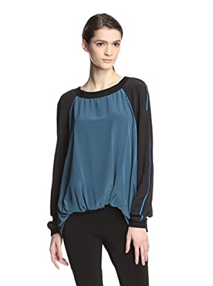 Elizabeth and James Women's Silk Brooklyn Top (Winter Blue/Black)