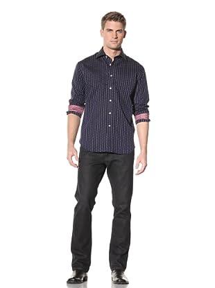 Rufus Men's Button-Up Cotton Shirt (Blue)