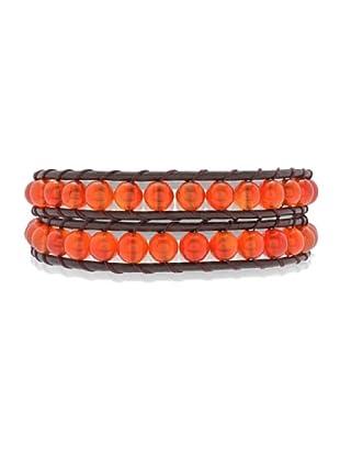 Lucie & Jade Echtleder-Armband Achat dunkelbraun/rot-orange