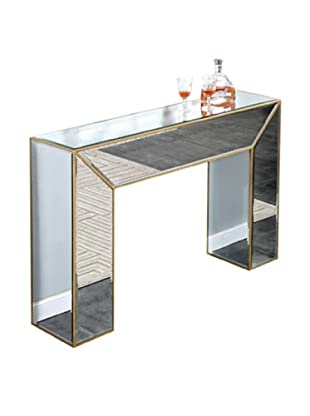 Manhattan Mirrored Console Table, Gold Leaf