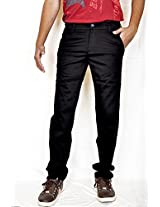 Routeen Men's Black Satin Lycra Cotton Slim Fit Chinos