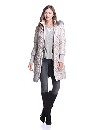 Elie Tahari Women's Isla Long Puffer Coat with Fur-Trimmed Hood (Platinum)