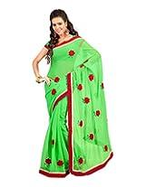 Sanskar Fashion Green Chiffon Patch Work Saree