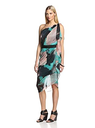 Halston Heritage Women's Printed One Shoulder Gown (Lagoon)