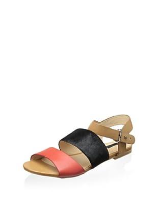 Matiko Women's Ksenya Triple Band Flat Sandal (Red/Black/Light Brown)