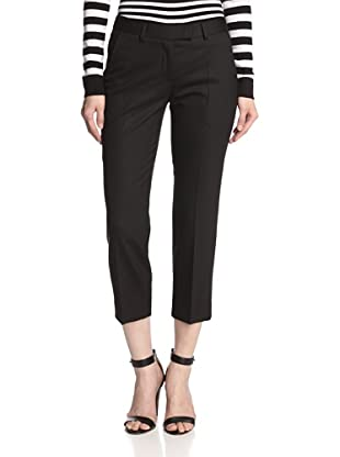 JASON WU Women's Cropped Lightweight Wool Gabardine Pant (Black)