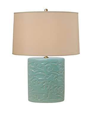 Emissary Ceramic Bird Lattice Oval Vase Lamp (Turquoise)