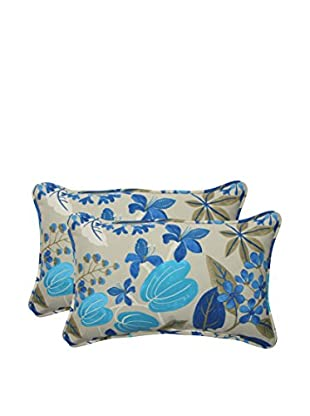 Pillow Perfect Set of 2 Indoor/Outdoor Fancy Floral Lagoon Lumbar Pillows, Blue