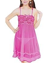 Hautewagon Women Net Babydoll ,Pink ,Free Size