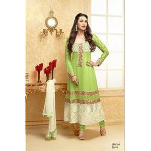 Semi stitched salwar suits - Karishma Kapoor Parrot Designer Anarkali Suit With Long Sleeve
