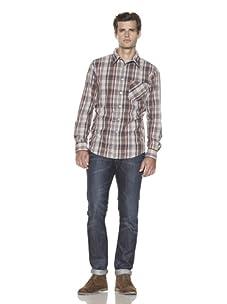 Just A Cheap Shirt Men's Long Sleeve Woven Plaid Shirt (Brown/Blue)