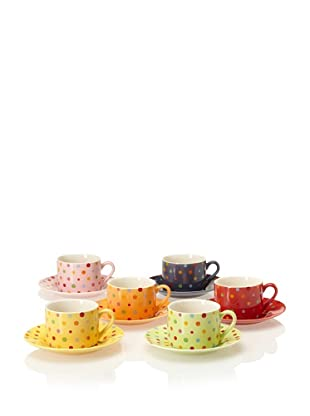 Classic Coffee & Tea Set of 6 Polka-Dot Tea Cups & Saucers, Assorted, 7-Oz.