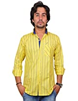 Nation Polo Club Men's Striped Slim Fit Casual Yellow Color Shirt XL
