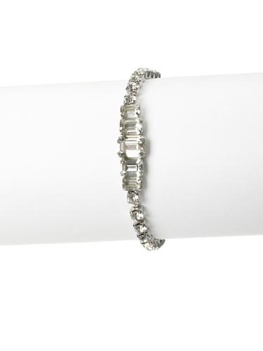 Lulu Frost 1920's Art Deco Single Row Curve Bracelet, Silver