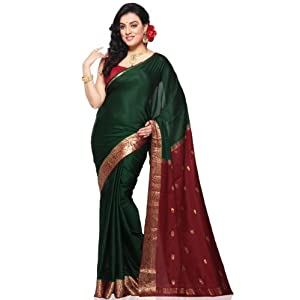 Dark Green Pure Mysore Silk Saree with Blouse