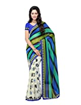 Suvastram woman Chiffon Printed Multi-Coloured Saree