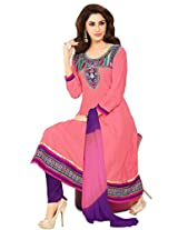Pink cotton anarkali casual wear suit with embroidered work and chiffon dupatta