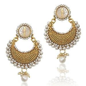 Earrings - Beautiful Elegant White Pearl Polki with Elegant White Stone, Pearls & Diamentes by ADIVA abchiobheo24 TDS 7