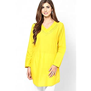 Pintuck Cotton Yellow Kurta