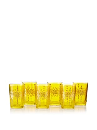 Found Objects Set of 6 Souad Moroccan Glasses (Yellow)