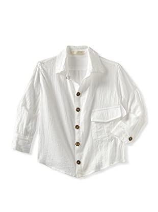 Blu Pony Vintage Boy's Classic Button Up with Raw Edge Collar (White)