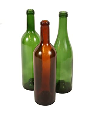 Set of 3 French Wine Bottles, Green/Brown