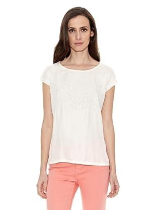 Cortefiel Camiseta Bordada Delant (Crudo)