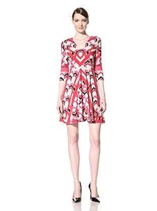 Donna Morgan Women's Printed V-Neck Dress (Bright Raspberry Multi)