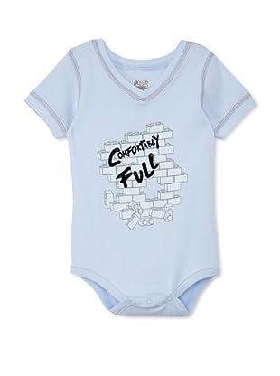 Lil Jokester Baby Comfortably Full Short Sleeve Bodysuit (V-Neck Blue)