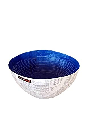 Asian Loft Swaziland Handcrafted Paper Mache Bowl with Stitch Pattern, White/Blue