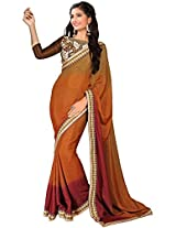 Manvaa brown and red saree -FNST1508