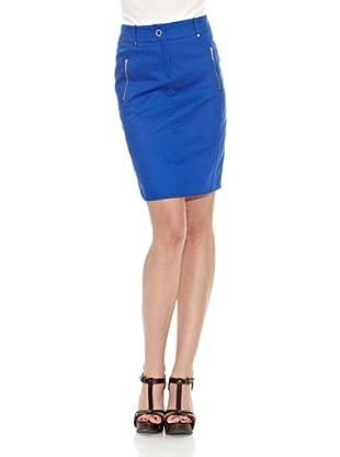 Cortefiel Falda Recta Piqué (Azul)
